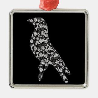 Rose Bird Silver-Colored Square Decoration