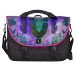 Rose Birds, Abstract Violet Pink Cycle Laptop Commuter Bag