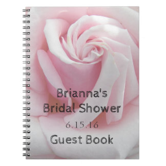 Rose Bloom Bridal Shower Guest Book Spiral Note Book