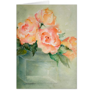 Rose Blooms in Green Vase Card