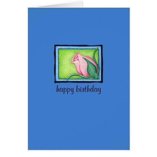 Rose blue Birthday Card