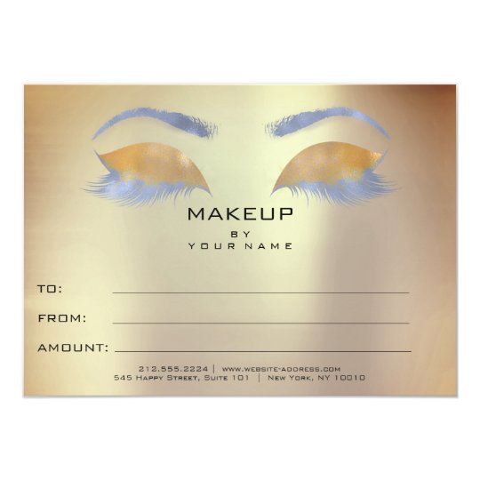 Rose Blue Gold Makeup Beauty Certificate Gift Card