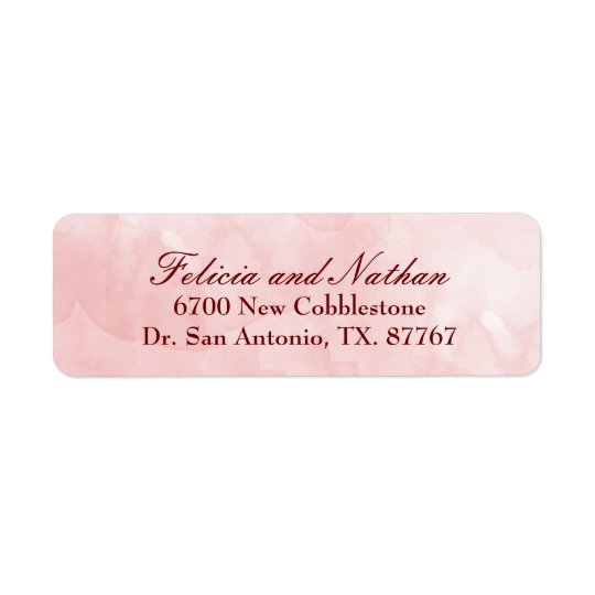 Rose Blush Watercolor Wedding Custom Return Address Label
