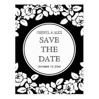 Rose border black white wedding Save the Date Postcard