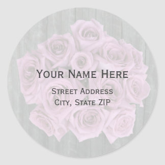 Rose Bouquet and Barnwood Address Label Round Sticker