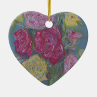 Rose Bouquet Ceramic Heart Decoration