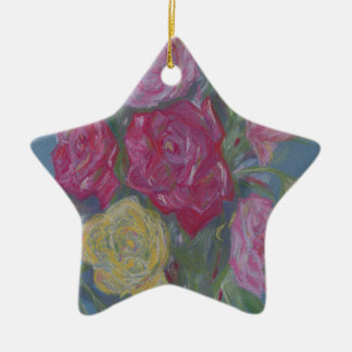 Rose Bouquet Ceramic Star Decoration