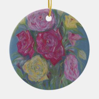 Rose Bouquet Round Ceramic Decoration