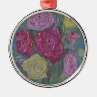 Rose Bouquet Silver-Colored Round Decoration