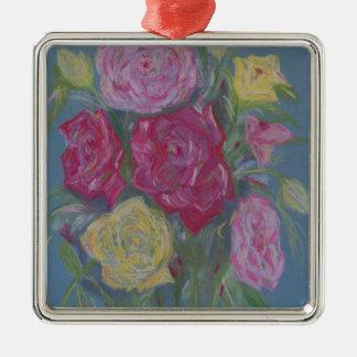 Rose Bouquet Silver-Colored Square Decoration