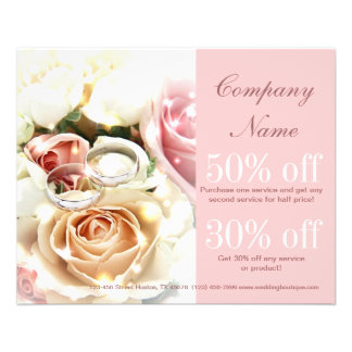 rose bouquets rings  wedding planner business flyer design