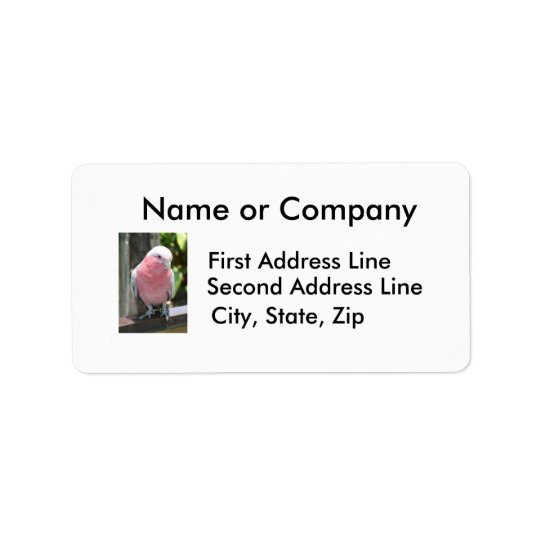 Rose Breasted Cockatoo photograph design Label