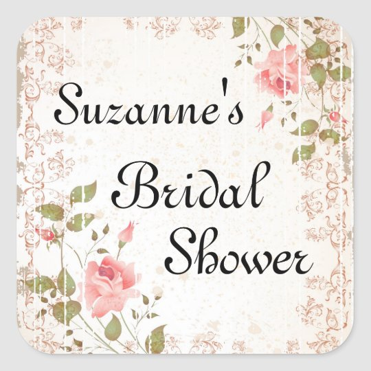 Rose Bridal Shower Stickers