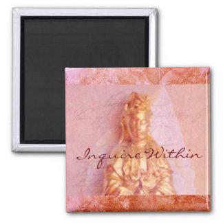 Rose-Bronze Kwan Yin Square Magnet