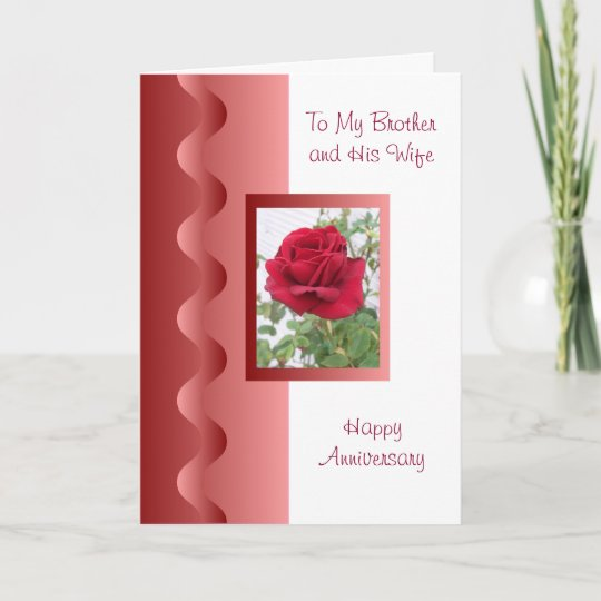 Rose Brother And Wife Wedding Anniversary Card