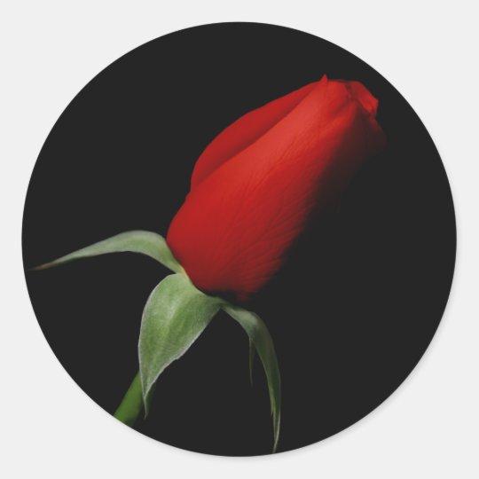 Rose Bud Wedding RSVP Invitation Envelope Seals Round Sticker