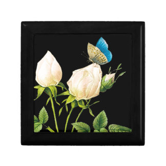 Rose Buds & Butterfly Small Square Gift Box