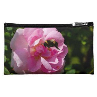 Rose & Bumble Bee image Sueded-Medium-Cosmetic-Bag Makeup Bags