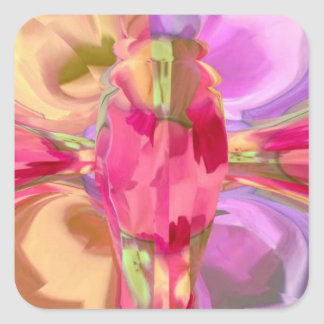 Rose Butterfly Crystal Square Sticker