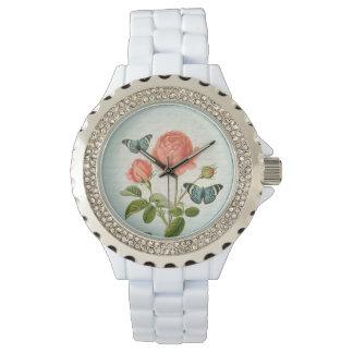 Rose & butterfly floral vintage elegant watch