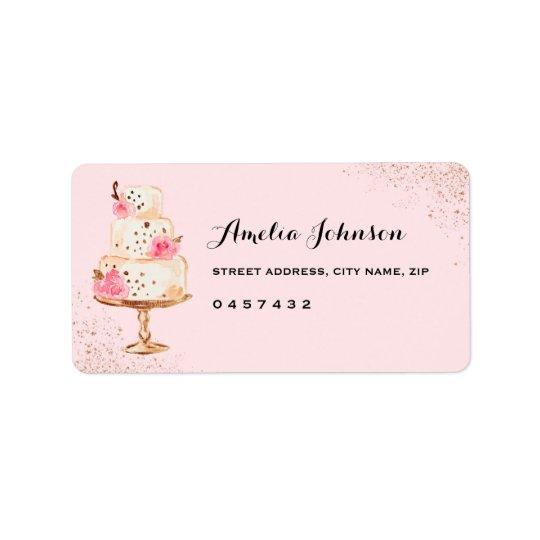 Rose Cake Tea Party Bridal Shower Address Labels