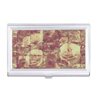 Rose camouflage pattern on tiled wall background business card holder