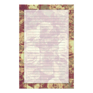 Rose camouflage pattern on tiled wall background personalized stationery