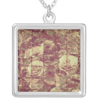 Rose camouflage pattern on tiled wall background silver plated necklace