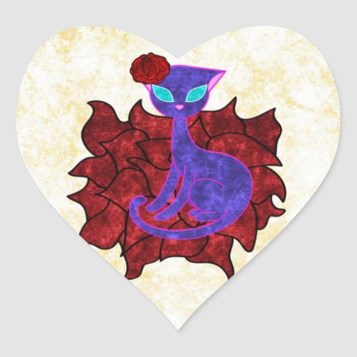 Rose Cat Water Painting Heart Sticker