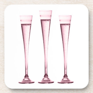 Rose Champagne Flutes Drink Coaster