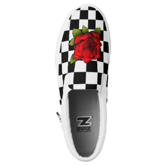 Rose Chequered Shoes Printed Shoes