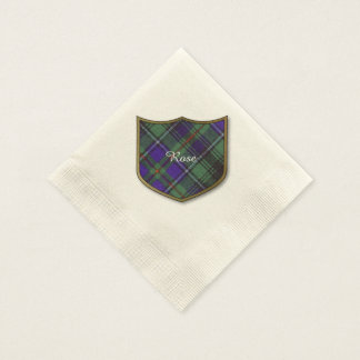 Rose clan Plaid Scottish tartan Disposable Napkin