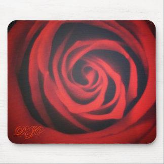 Rose closeup with initials mouse mat