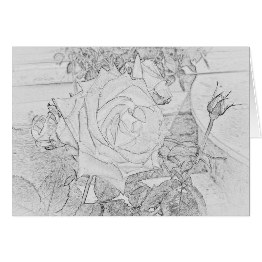Rose Colouring Sheet Greeting Card