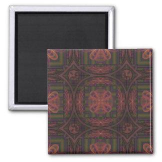 Rose Cross Kaleidoscope Square Magnet