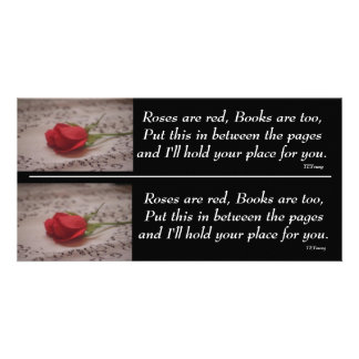 Rose Cut in 1/2 Bookmarkers Photo Greeting Card