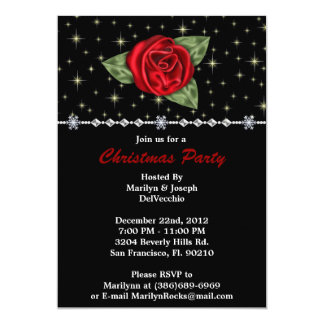 "Rose CUTE Christmas Holiday Party 5"" X 7"" Invitation Card"
