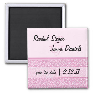 Rose Damask | Save the Date Square Magnet