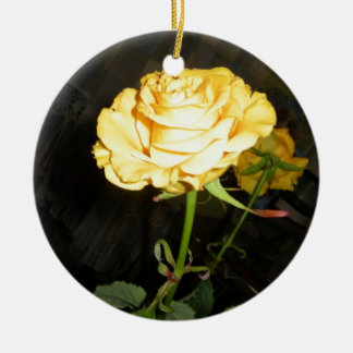 Rose Double-Sided Ceramic Round Christmas Ornament