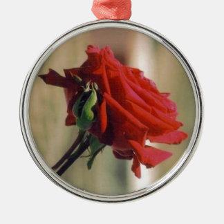 Rose Round Metal Christmas Ornament