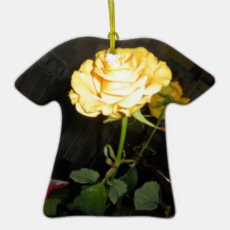 Rose Double-Sided T-Shirt Ceramic Christmas Ornament