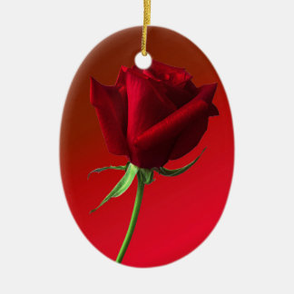 rose Double-Sided oval ceramic christmas ornament