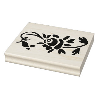 Rose Decoration Left Side Rubber Art Stamp