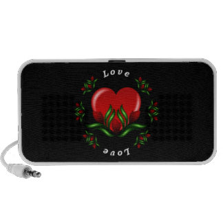 Rose Design With Words Saying Love In White Text Laptop Speaker