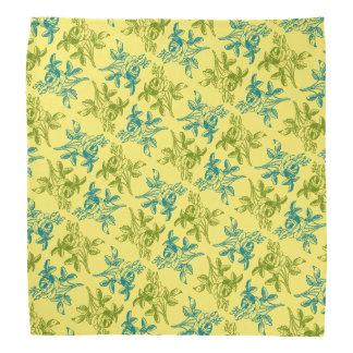 Rose Drawing Bandana (Blue and Green on Yellow)