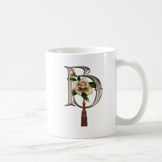 Rose Elegance Monogram B Basic White Mug