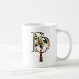 Rose Elegance Monogram B Coffee Mugs