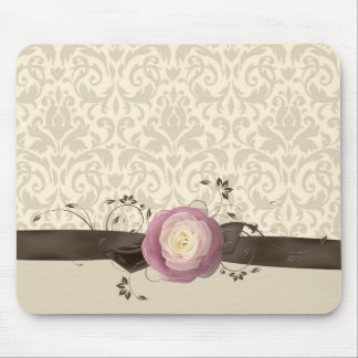 Rose Elegant Damask Ribbon Style Mousepad