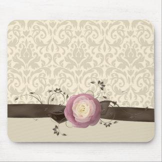 Rose Elegant Damask Ribbon Style Mousepad