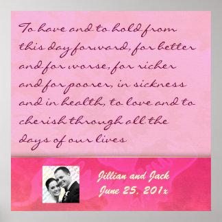 Rose Fantasy WEDDING Vows Keepsake Display Poster